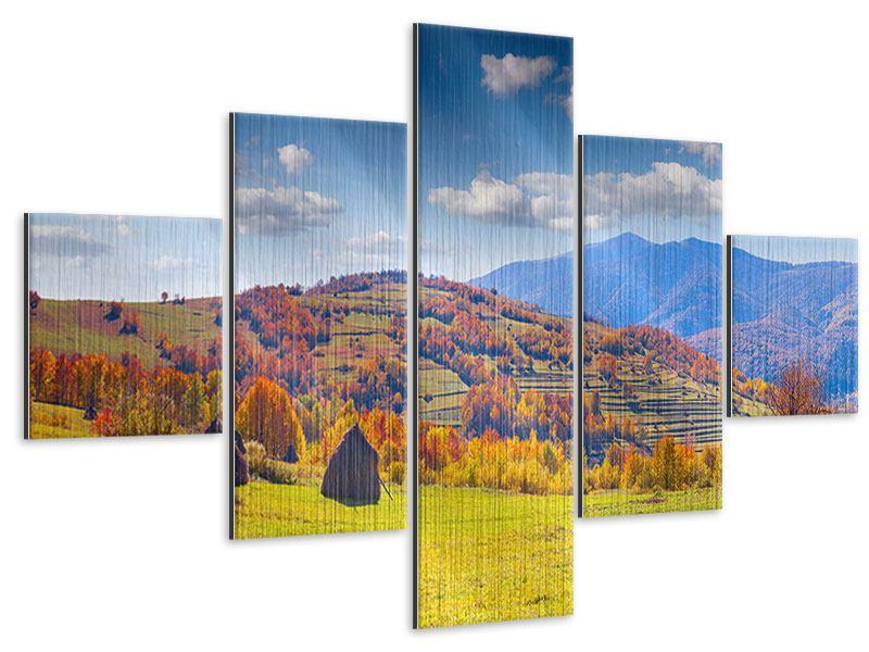 Metallic-Bild 5-teilig Herbstliche Berglandschaft