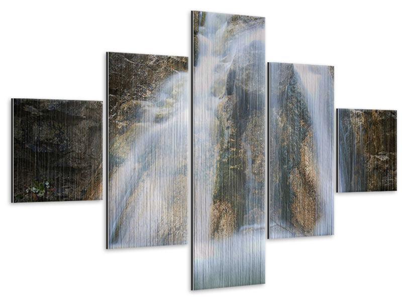 Metallic-Bild 5-teilig Imposanter Wasserfall