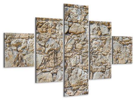 Metallic-Bild 5-teilig Sandsteinmauer