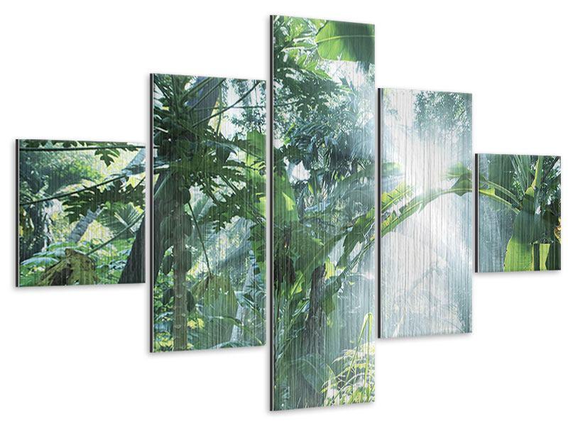 Metallic-Bild 5-teilig Dschungelstar