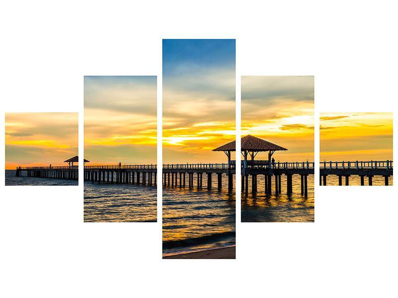 Metallic-Bild 5-teilig Brücke der Liebe