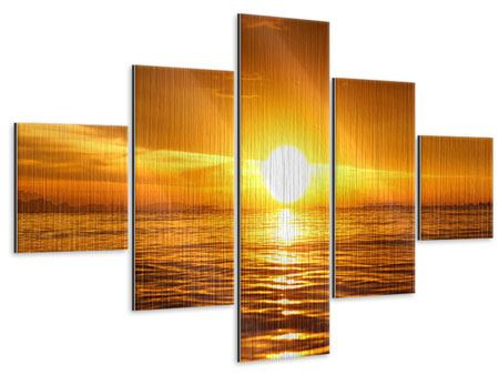 Metallic-Bild 5-teilig Glühender Sonnenuntergang am Wasser