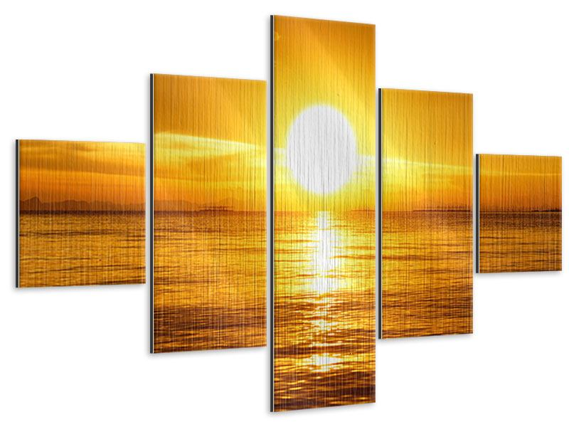 Metallic-Bild 5-teilig Traumhafter Sonnenuntergang