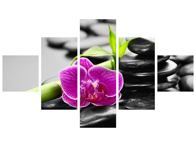 Metallic-Bild 5-teilig Feng-Shui-Orchidee