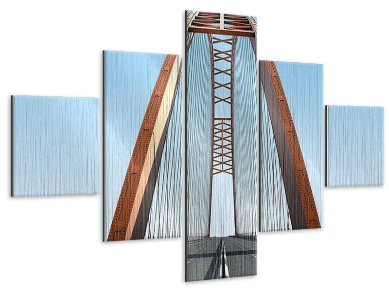 Metallic-Bild 5-teilig Brückenpanorama