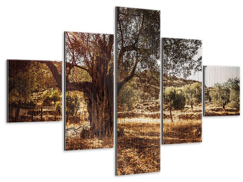 Metallic-Bild 5-teilig Olivenhain