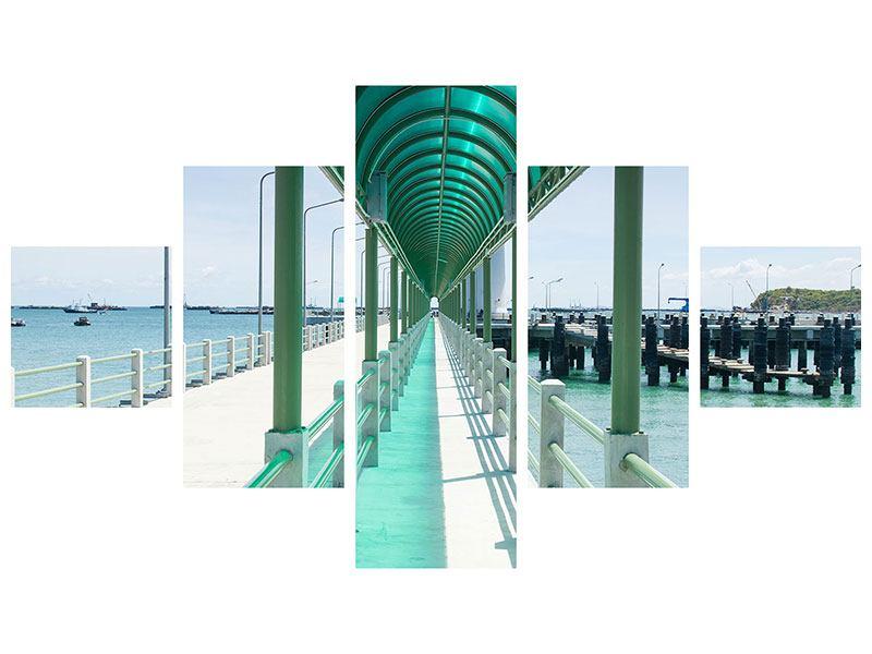 Metallic-Bild 5-teilig Die Brücke am Meer