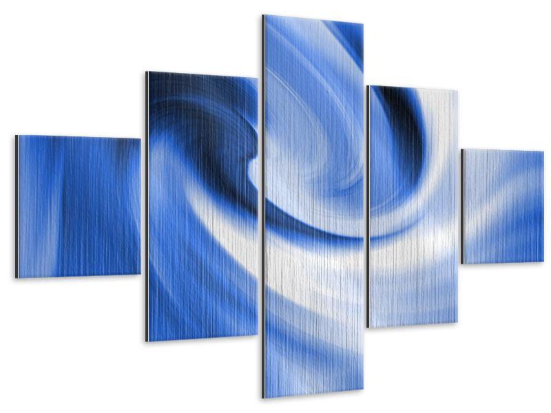 Metallic-Bild 5-teilig Abstrakte blaue Welle