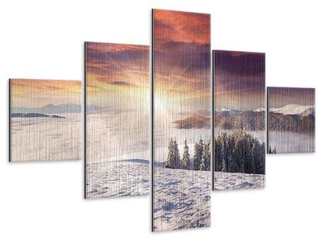 Metallic-Bild 5-teilig Sonnenaufgang Winterlandschaft