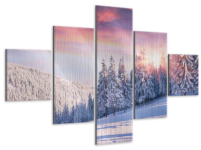 Metallic-Bild 5-teilig Winterlandschaft