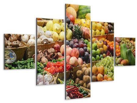 Metallic-Bild 5-teilig Obstmarkt