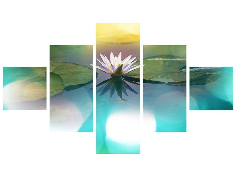 Metallic-Bild 5-teilig Lotus-Spiegelung