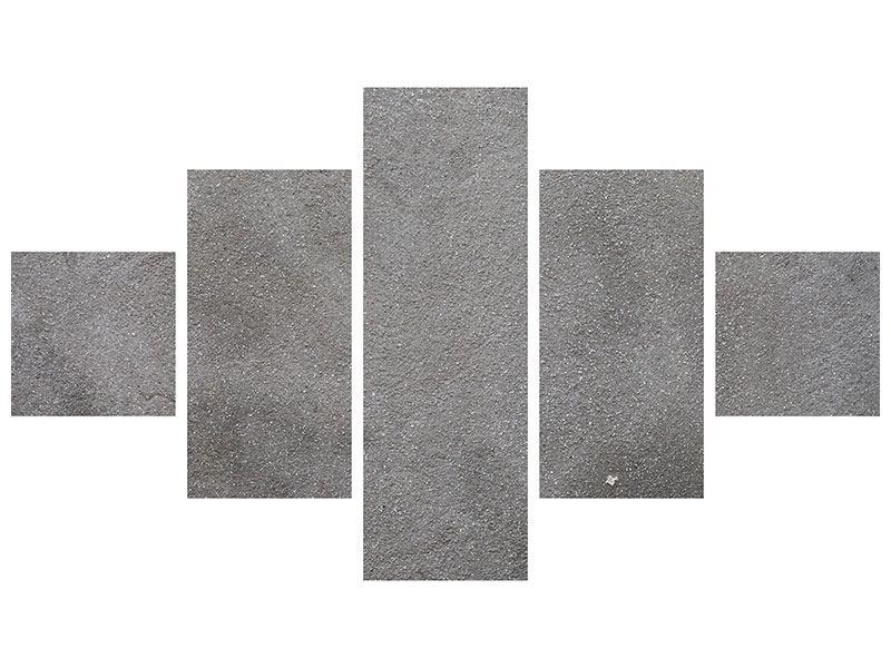 Metallic-Bild 5-teilig Beton in Dunkelgrau