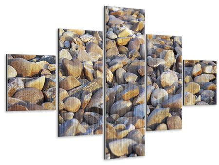 Metallic-Bild 5-teilig Strandsteine
