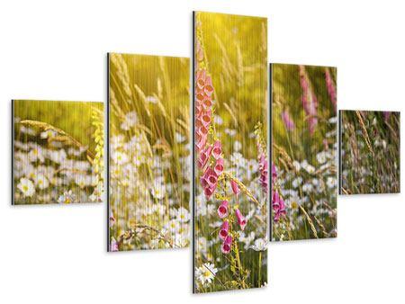 Metallic-Bild 5-teilig Sommerliche Blumenwiese