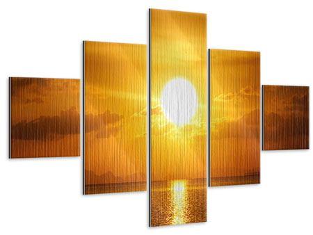 Metallic-Bild 5-teilig Sonnenuntergang See