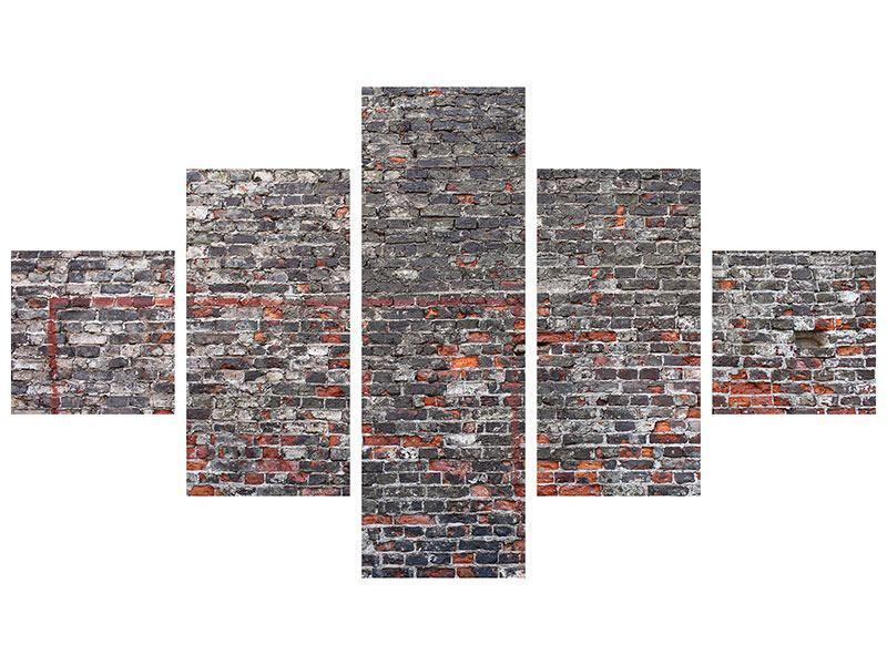 Metallic-Bild 5-teilig Alte Backsteine