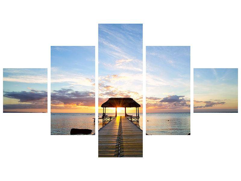 Metallic-Bild 5-teilig Romantik auf Mauritius