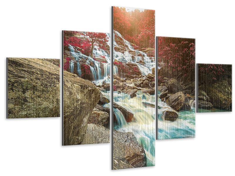 Metallic-Bild 5-teilig Exotischer Wasserfall