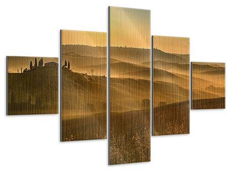 Metallic-Bild 5-teilig Sonnenuntergang im Gebirge