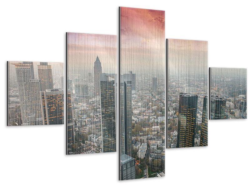 Metallic-Bild 5-teilig Skyline Penthouse in New York