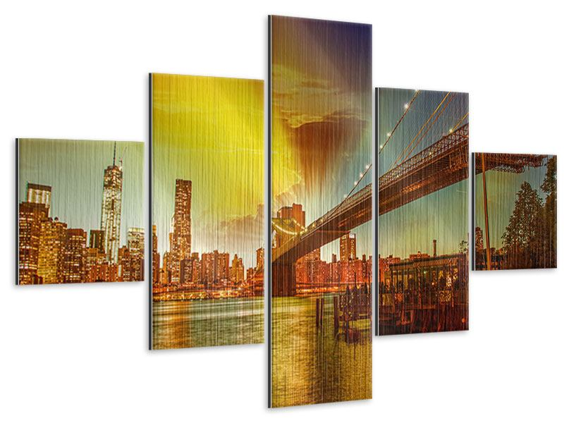 Metallic-Bild 5-teilig Skyline Brooklyn Bridge NY