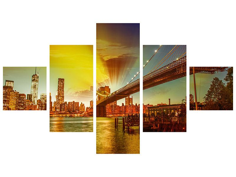 Metallic-Bild 5-teilig Skyline Brooklyn Bridge NY