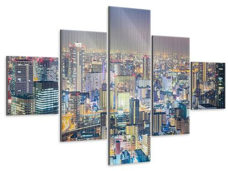 Metallic-Bild 5-teilig Skyline Osaka bei Sonnenuntergang