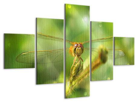Metallic-Bild 5-teilig XXL-Libelle