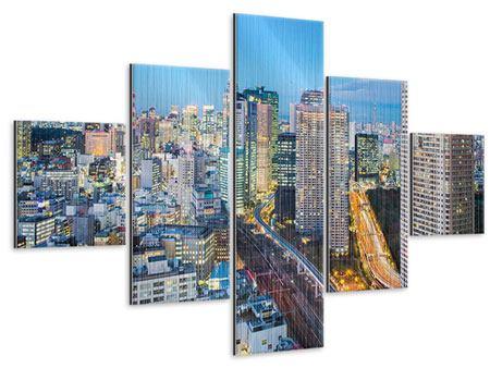 Metallic-Bild 5-teilig Skyline Tokio im Lichtermeer