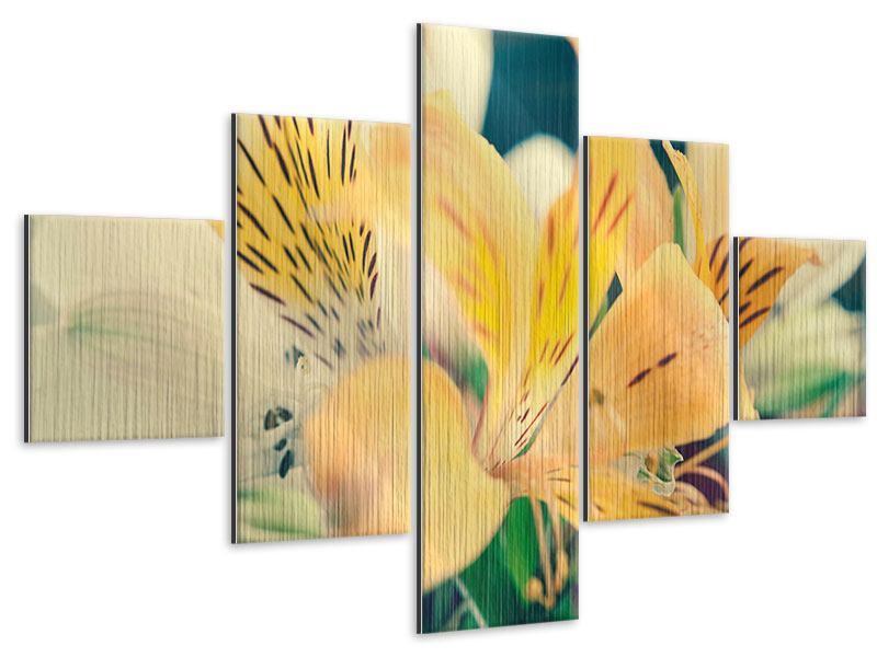 Metallic-Bild 5-teilig Tigerlilien