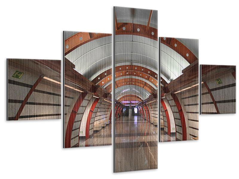 Metallic-Bild 5-teilig U-Bahn Station