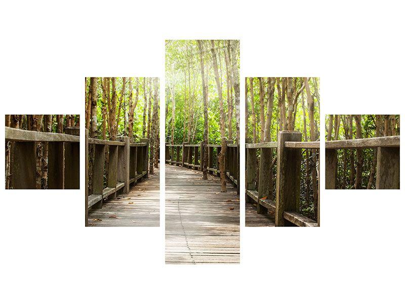 Metallic-Bild 5-teilig Hölzerne Brücke