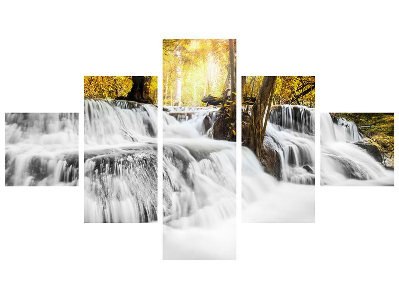 Metallic-Bild 5-teilig Wasser in Aktion