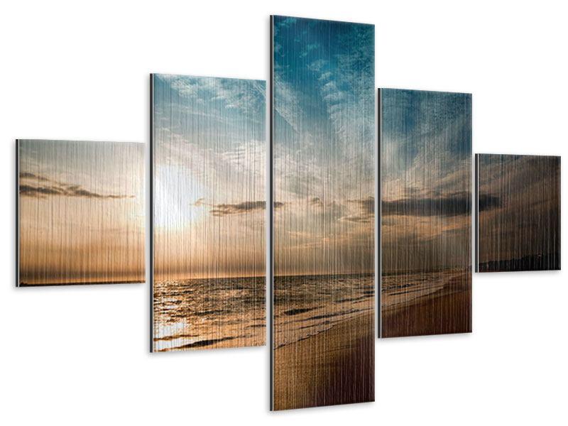 Metallic-Bild 5-teilig Strandspaziergang