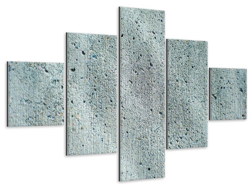 Metallic-Bild 5-teilig Beton in Grau
