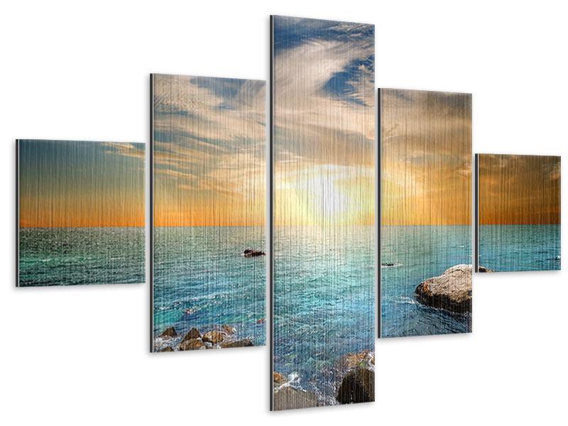 Metallic-Bild 5-teilig Meerwasser