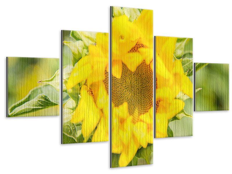 Metallic-Bild 5-teilig Wilde Sonnenblume