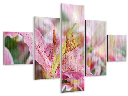 Metallic-Bild 5-teilig Lilien im Tau