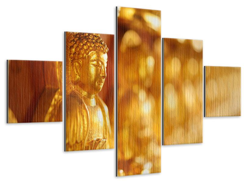 Metallic-Bild 5-teilig Buddhas