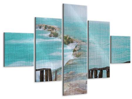Metallic-Bild 5-teilig Haus am Wasserfall
