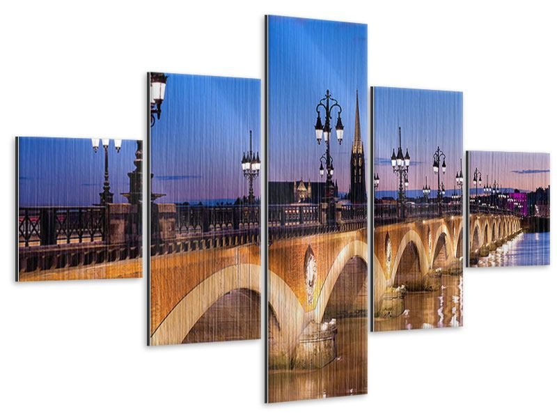 Metallic-Bild 5-teilig Pont De Pierre bei Sonnenuntergang