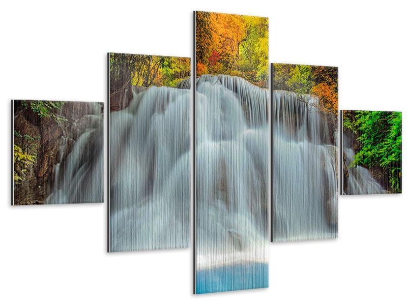 Metallic-Bild 5-teilig Fallendes Gewässer