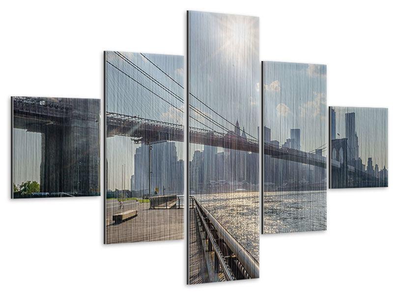 Metallic-Bild 5-teilig Brooklyn Bridge