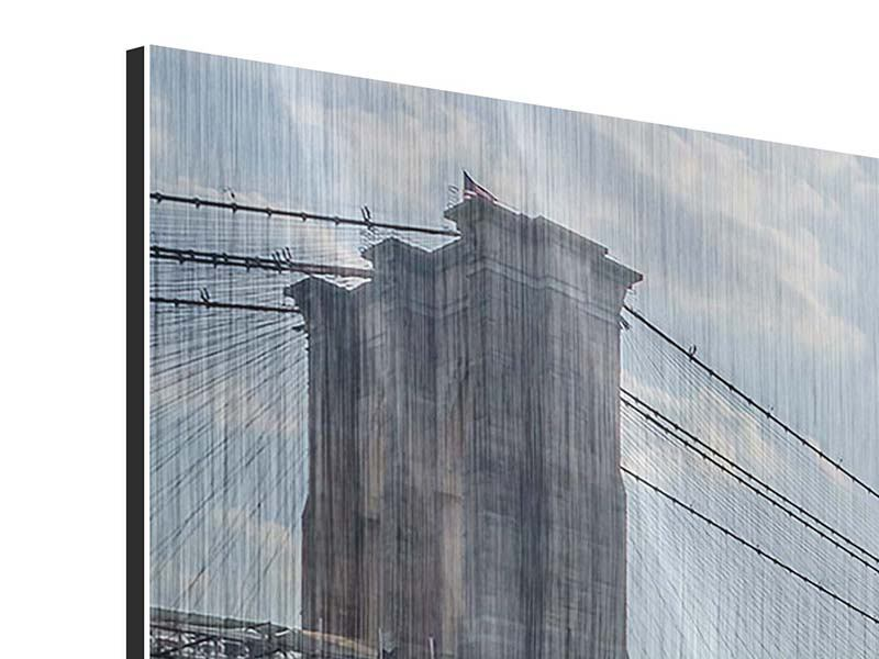 Metallic-Bild 5-teilig Brooklyn Bridge