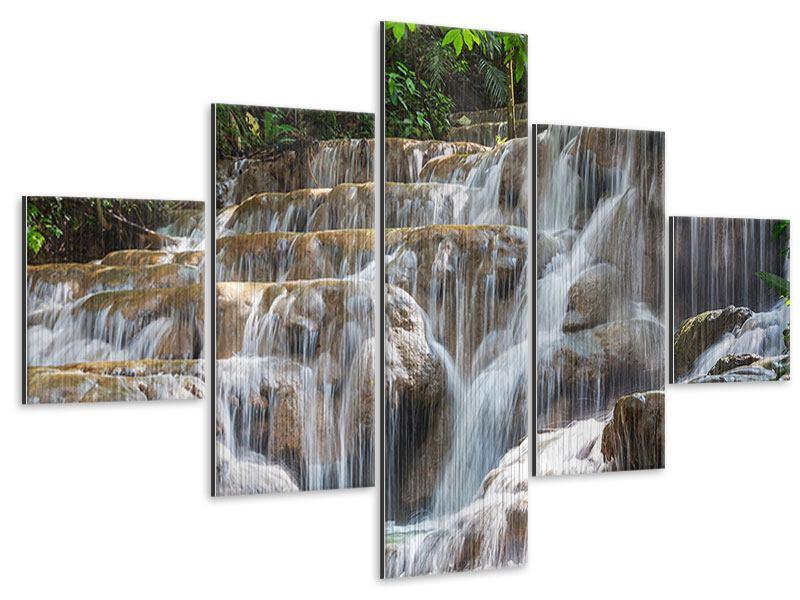 Metallic-Bild 5-teilig Mexikanischer Wasserfall