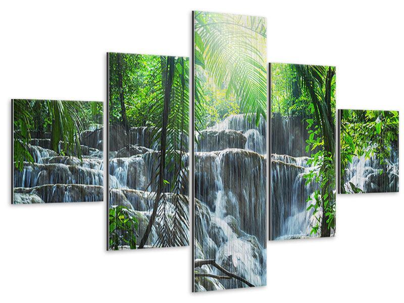 Metallic-Bild 5-teilig Wasserfall Agua Azul