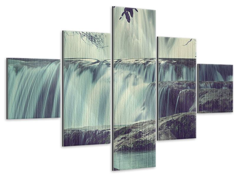 Metallic-Bild 5-teilig Wasserfall Mexiko