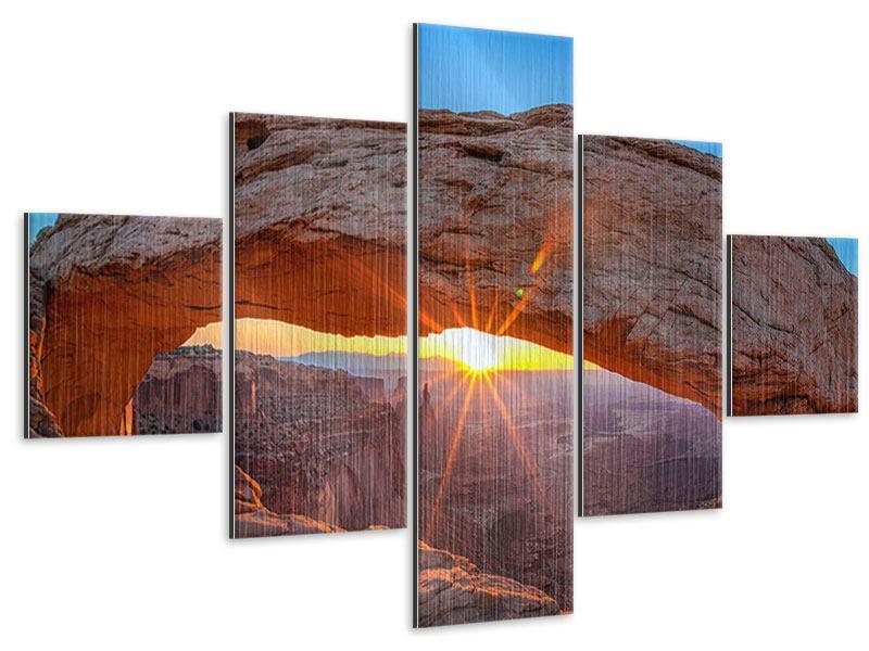 Metallic-Bild 5-teilig Sonnenuntergang am Mesa Arch