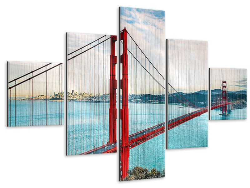Metallic-Bild 5-teilig Golden Gate Bridge